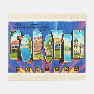 Forsyth Montana MT Old Vintage Travel Souvenir Fleece Blanket