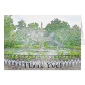 Forsyth Park Fountain Watercolor Thank You Card