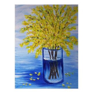 Forsythia in a blue vase photo print