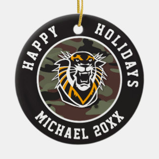 Fort Hays State | Camo Ceramic Ornament