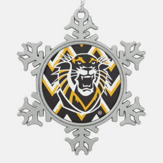 Fort Hays State   Chevron Pattern Snowflake Pewter Christmas Ornament