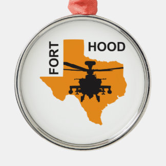 Fort Hood Base Silver-Colored Round Decoration