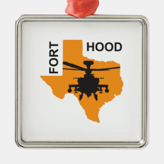 Fort Hood Base Silver-Colored Square Decoration