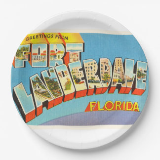 Fort Lauderdale #2 Florida FL Old Travel Souvenir 9 Inch Paper Plate