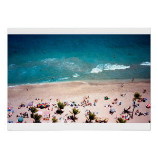 Fort Lauderdale Beach aerial ocean view photograph Poster