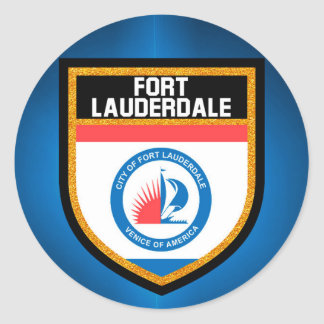 Fort Lauderdale Flag Classic Round Sticker