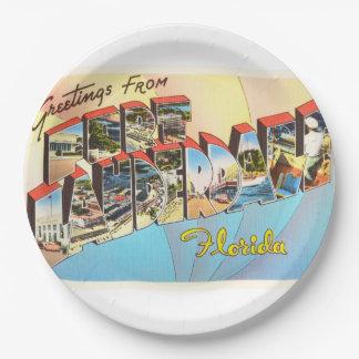 Fort Lauderdale Florida FL Vintage Travel Souvenir 9 Inch Paper Plate