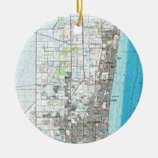 Fort Lauderdale Florida Map (1985) Ceramic Ornament