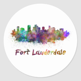 Fort Lauderdale skyline in watercolor Classic Round Sticker