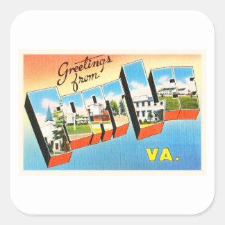 Fort Lee Virginia VA Old Vintage Travel Postcard- Square Sticker