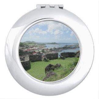 """Fort Louis Rampart Walls """"St. Maarten"""" Compact Mirror"""