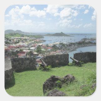 "Fort Louis Rampart Walls ""St. Maarten"" Square Sticker"