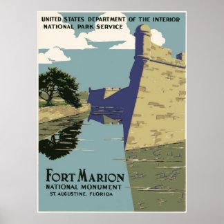 Fort Marion National Monument Vintage Travel Poster