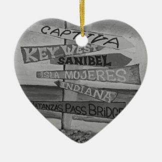 Fort Myers Beach Mural Ceramic Heart Decoration