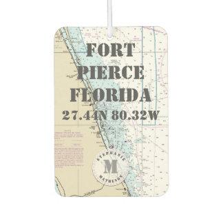 Fort Pierce Florida Nautical Chart Monogram Car Air Freshener