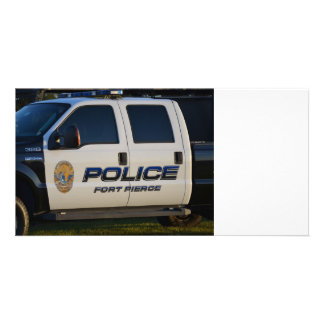fort pierce police department pickup truck closeup photo card template