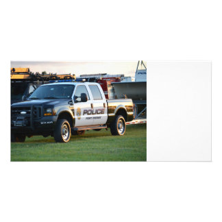 fort pierce police department pickup truck personalised photo card
