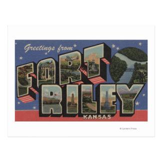 Fort Riley, Kansas - Large Letter Scenes Postcard