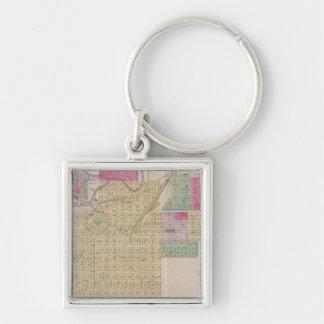 Fort Scott, Bourbon County, Kansas Silver-Colored Square Key Ring