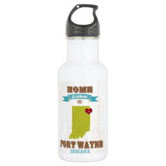 Fort Wayne, Indiana Map – Home Is Where The Heart 532 Ml Water Bottle