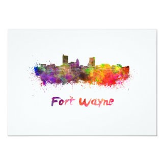 Fort Wayne skyline in watercolor Card