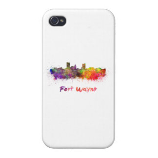 Fort Wayne skyline in watercolor iPhone 4/4S Covers