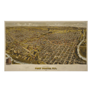 Fort Worth Panoramic Map 1891 Poster