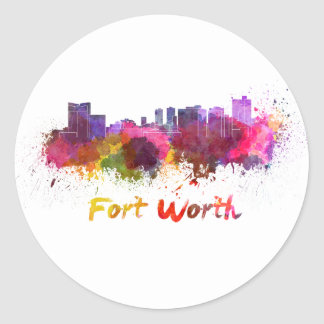 Fort Worth skyline in watercolor Round Sticker