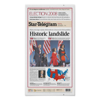Fort Worth Star-Telegram Election Day Front Page Poster