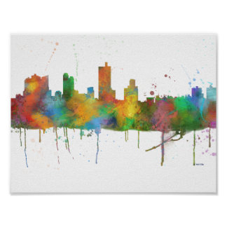 FORT WORTH, TEXAS SKYLINE POSTER