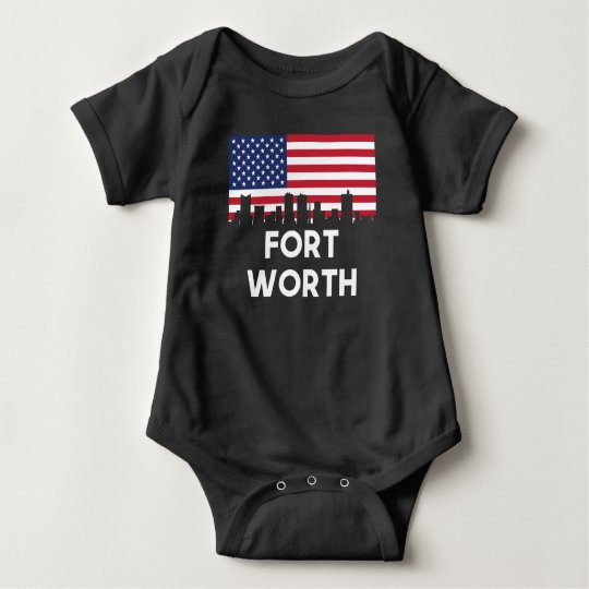 Fort Worth TX American Flag Skyline Baby Bodysuit