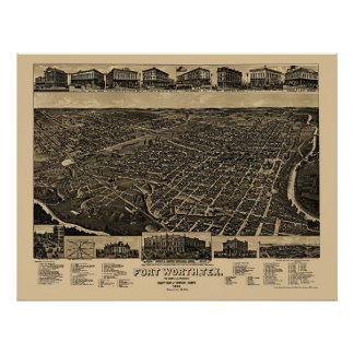Fort Worth, TX Panoramic Map - 1886 Poster