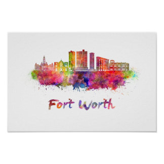 Fort Worth V2 skyline in watercolor Poster