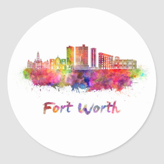 Fort Worth V2 skyline in watercolor Round Sticker