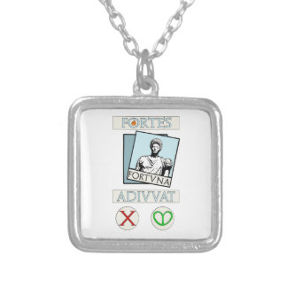 Fortes Fortuna Adiuvat Silver Plated Necklace