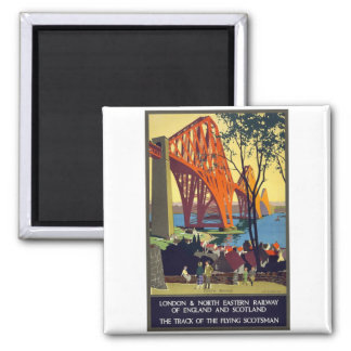 Forth Bridge - Vintage Travel Poster Art Square Magnet
