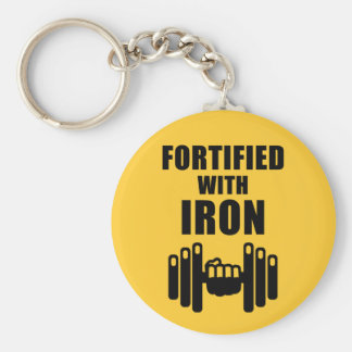 Fortified With Iron Basic Round Button Key Ring