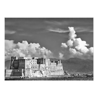 Fortress, sea, clouds and mountains photo print