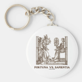 Fortuna vs Sapientia (16th Century Wood Engraving) Basic Round Button Key Ring