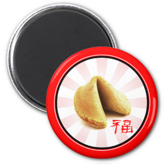 Fortune Cookie 'Luck' Magnet (red) 2 Inch Round Magnet