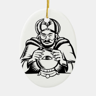 Fortune Teller Eye on Crystall Ball Woodcut Ceramic Ornament