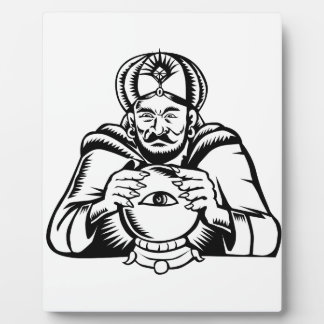 Fortune Teller Eye on Crystall Ball Woodcut Plaque