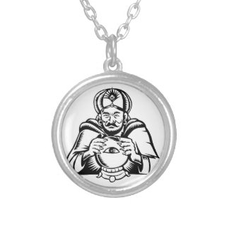 Fortune Teller Eye on Crystall Ball Woodcut Silver Plated Necklace