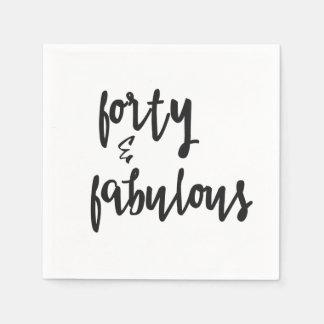 Forty & Fabulous - Fun 40th Birthday Paper Napkin