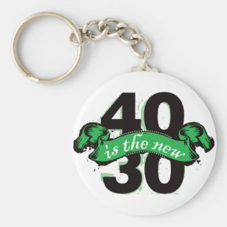 Forty Is The New Thirty - Green Basic Round Button Key Ring