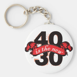 Forty Is The New Thirty - Red Basic Round Button Key Ring
