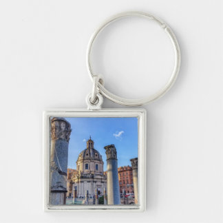Forum Romanum, Rome, Italy Silver-Colored Square Key Ring