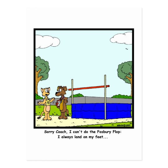 Fosbury Flop: Cat cartoon Postcard