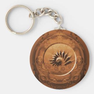 Fossil fractal mirror key ring