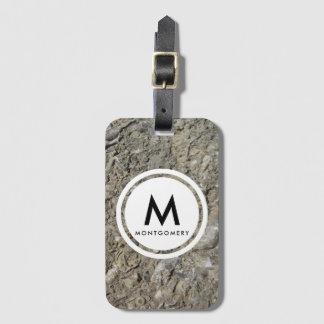 Fossil Hash Limestone Monogram Luggage Tag
